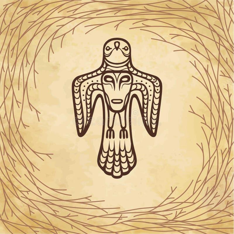 Animatiebeeld van oude heidense deity Vogel met een menselijk gezicht op een borst royalty-vrije illustratie