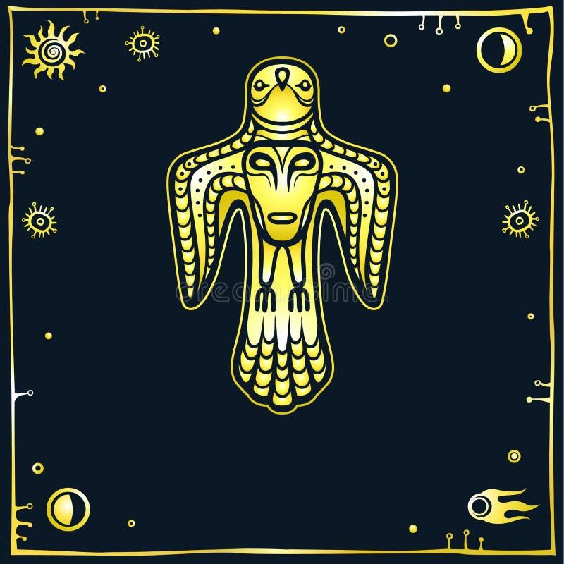 Animatiebeeld van oude heidense deity Vogel y met een menselijk gezicht op een borst royalty-vrije illustratie