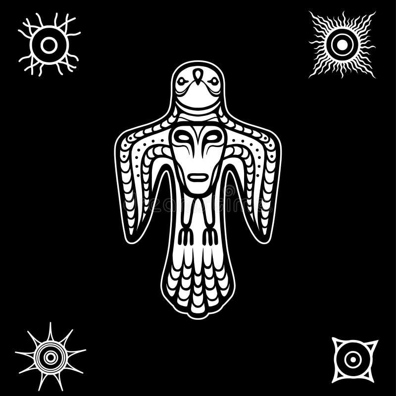 Animatiebeeld van oude heidense deity Vogel y met een menselijk gezicht op een borst vector illustratie