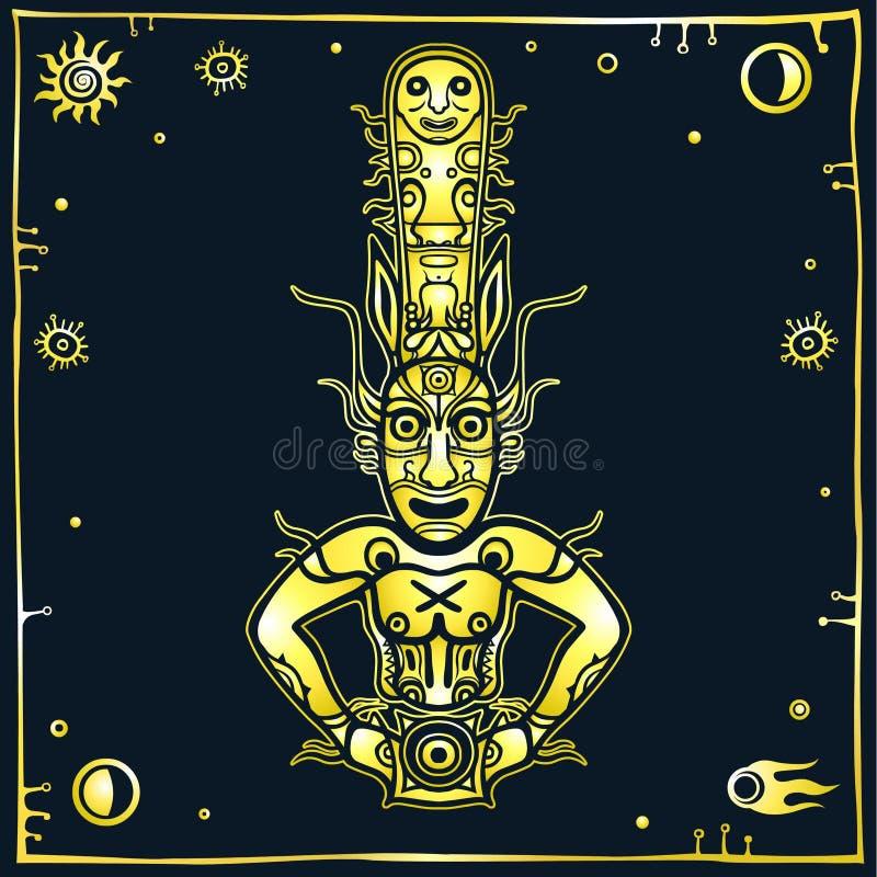 Animatiebeeld van oude heidense god Tekening van rots het schilderen Deity, idool, pictogram, totem vector illustratie