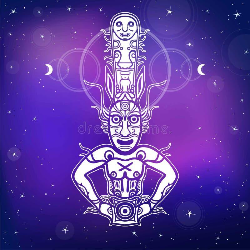 Animatiebeeld van oude heidense god Tekening van rots het schilderen Deity, idool, pictogram, totem stock illustratie