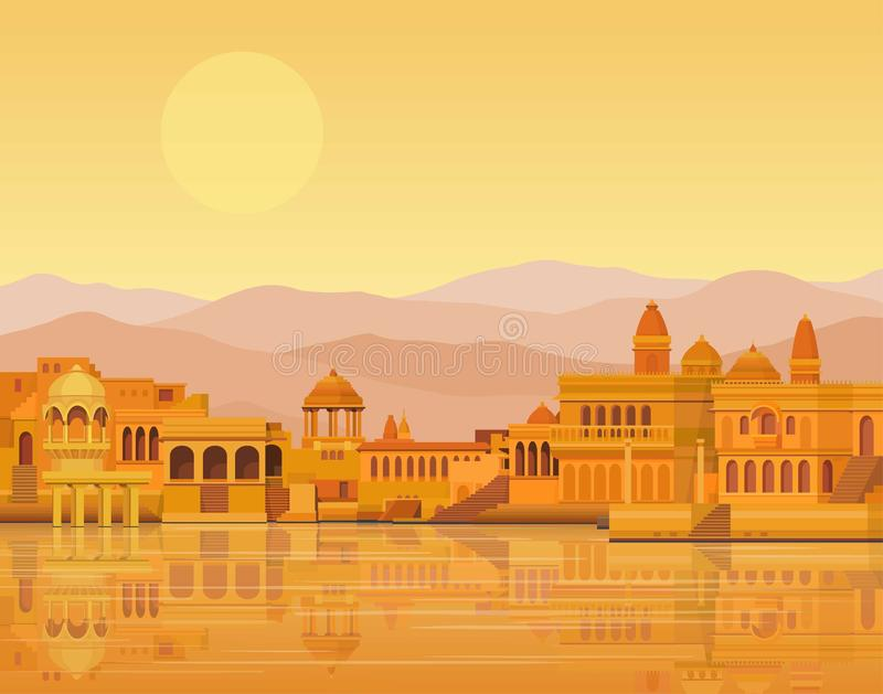 Animatielandschap: de oude Indische stad: tempels, paleizen, woningen, rivierbank stock illustratie