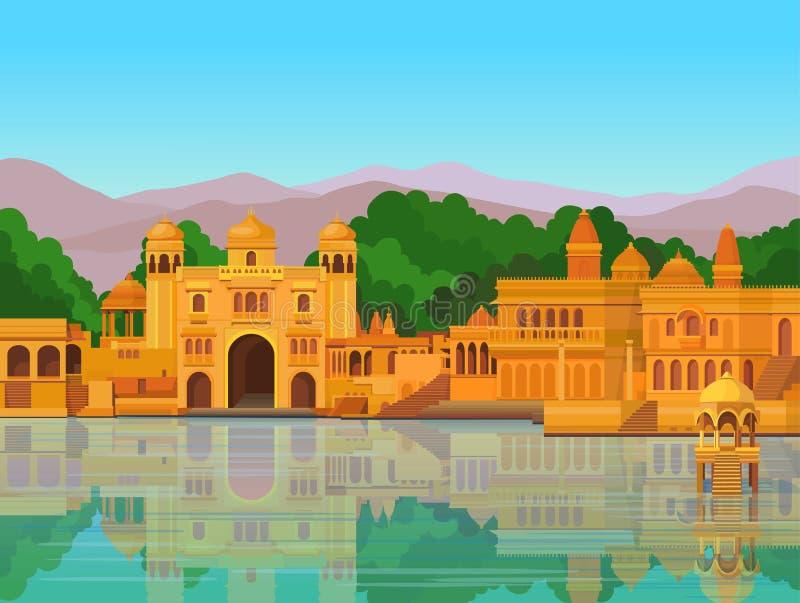 Animatielandschap: de oude Indische stad: tempels, paleizen, woningen, rivierbank royalty-vrije illustratie