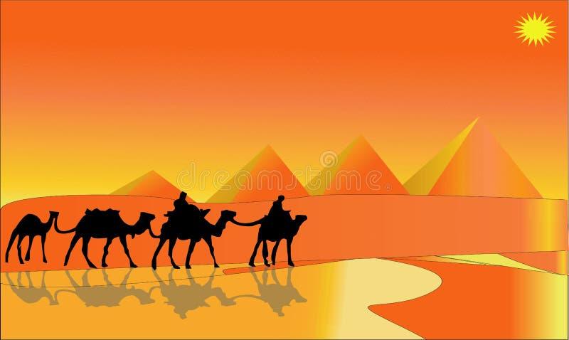 Animatielandschap: woestijn, caravan van kamelen Vector illustratie - Een hete illustratie van het woestijnlandschap - Beelden ve stock illustratie