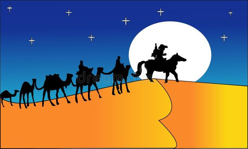 Animatielandschap: woestijn, caravan van kamelen Vector illustratie - Een hete illustratie van het woestijnlandschap - Beelden ve royalty-vrije illustratie