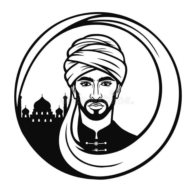 Animatieportret van de Arabische man in een tulband royalty-vrije illustratie