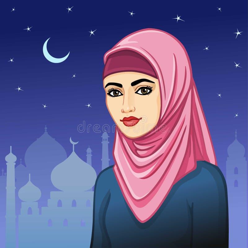 Animatieportret van de Moslimvrouw in een hijab royalty-vrije illustratie