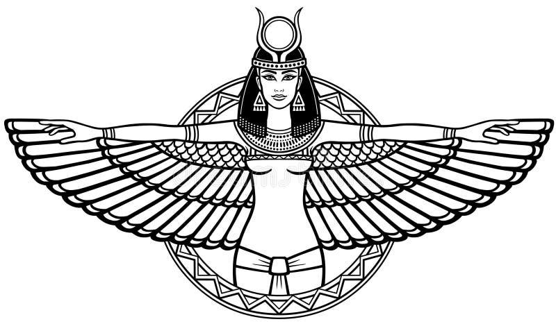 Animatieportret van de oude Egyptische gevleugelde godin royalty-vrije illustratie