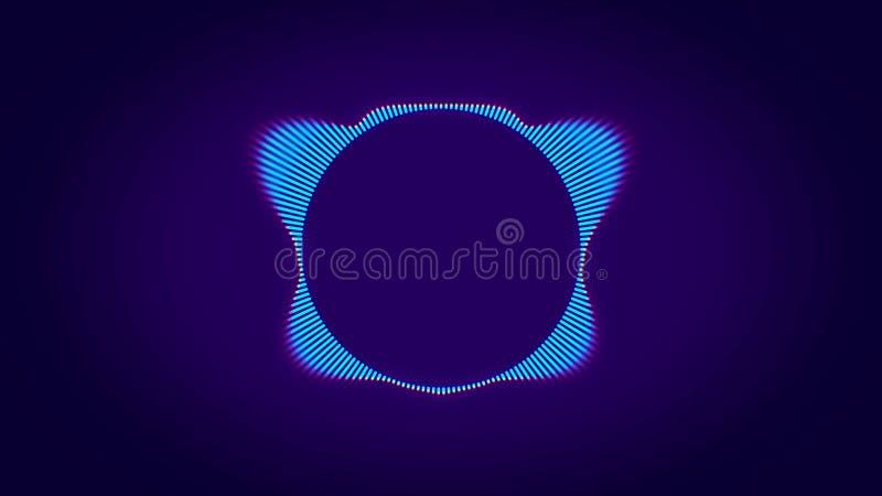 Animation abstraite de l'égaliseur de cercle d'ondes sonores coloré avec silhouette de néon animé d'éléphant au centre illustration libre de droits