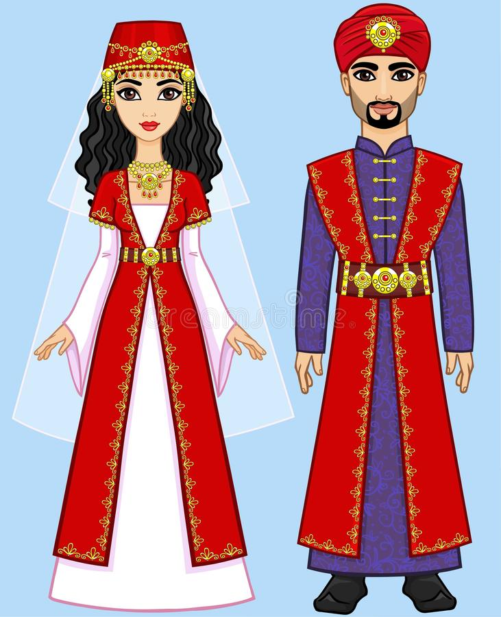 Animation Arab family in ancient clothes. royalty free illustration