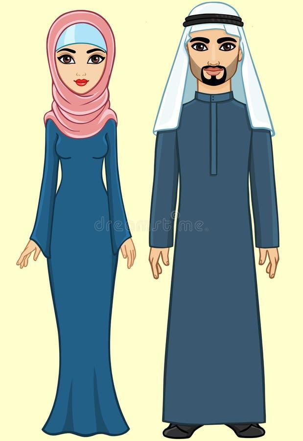 Animation Arab family stock illustration