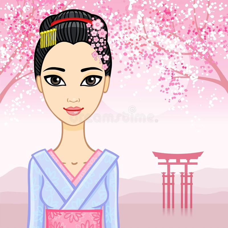 Animation beautiful Japanese girl in a traditional clothes vector illustration
