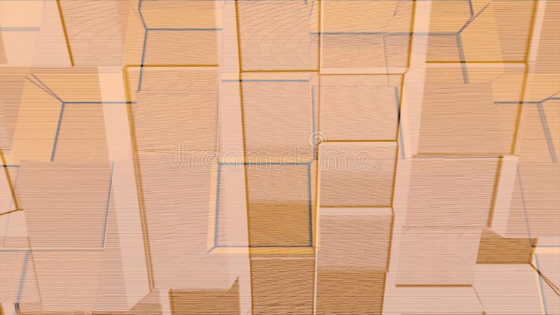 Animation of beige wall of cubes moving forward and backward, seamless loop. Animation. Abstract volume blocks endless stock illustration