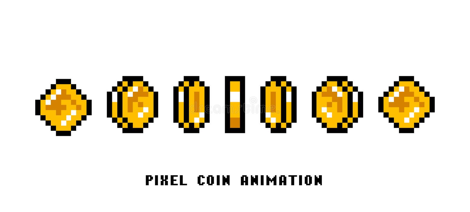 Animation of coins. Pixel art 8 bit objects. Set of icons for vintage computer video arcades. Retro game assets. The vector illustration
