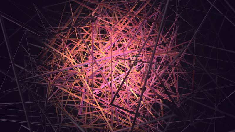 Animation of colored tangled threads on a black background. Animation. Colored bunch of lines on a black background.  royalty free stock photos