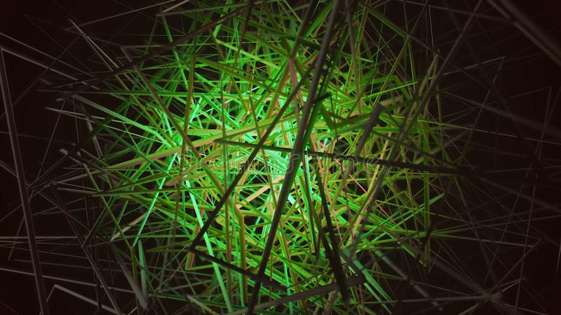 Animation of colored tangled threads on a black background. Animation. Colored bunch of lines on a black background.  stock images