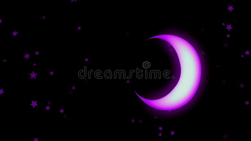 Animation of colorful neon crescent and stars shining softly and rotating on the black background. Animation. Beautiful royalty free illustration