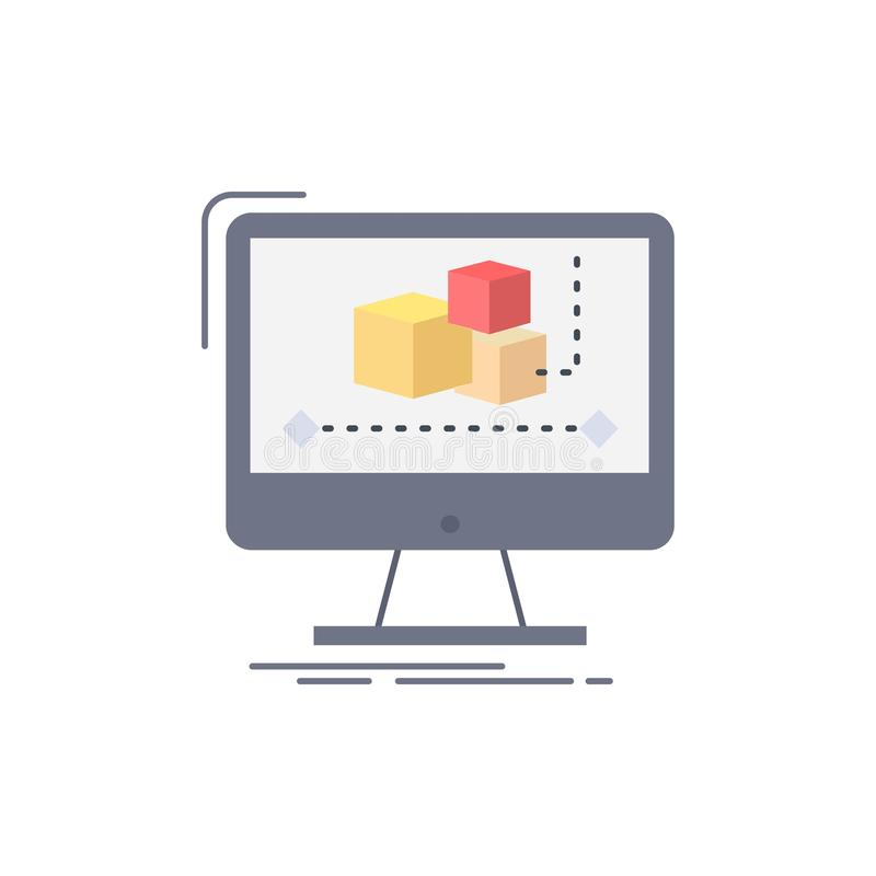 Animation, Computer, Herausgeber, Monitor, Software flacher Farbikonen-Vektor stock abbildung