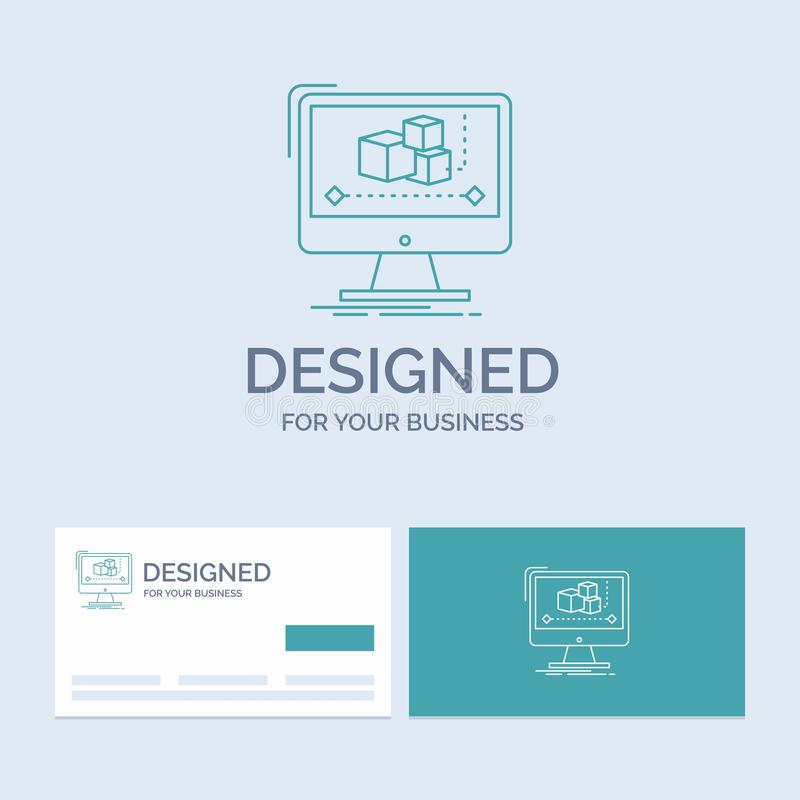 Animation, Computer, Herausgeber, Monitor, Software Geschäft Logo Line Icon Symbol für Ihr Geschäft T?rkis-Visitenkarten mit stock abbildung