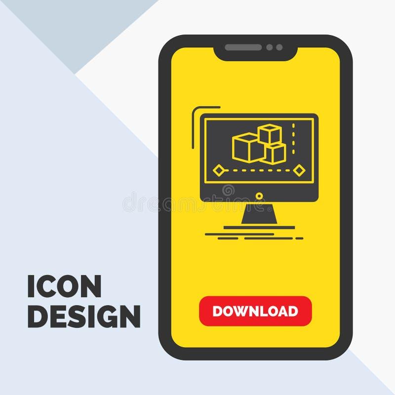 Animation, Computer, Herausgeber, Monitor, Software Glyph-Ikone im Mobile für Download-Seite Gelber Hintergrund vektor abbildung