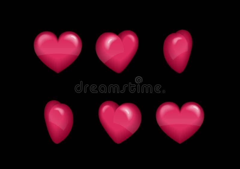 Animation d'effet de feuille de Sprite d'un coeur gonflé de rotation miroitant et tournant Pour les effets visuels, développement illustration libre de droits