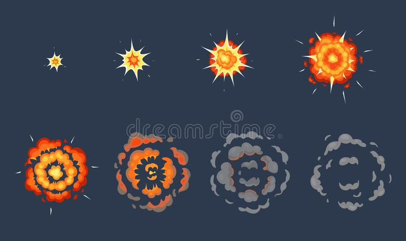 Animation d'explosion de bande dessin?e Cadres de explosion d'effet, tir anim? ?clater avec l'ensemble d'illustration de vecteur  illustration libre de droits