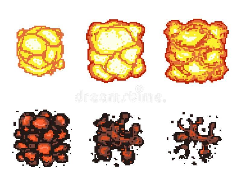 Animation d'explosion de jeu vidéo dans l'art de pixel illustration libre de droits