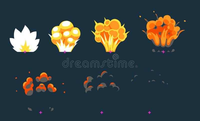 Animation d'explosion pour le jeu illustration de vecteur