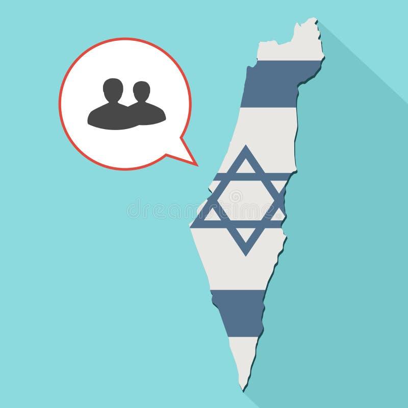 Animation d'une longue carte de l'Israël d'ombre avec son drapeau et un comique illustration stock