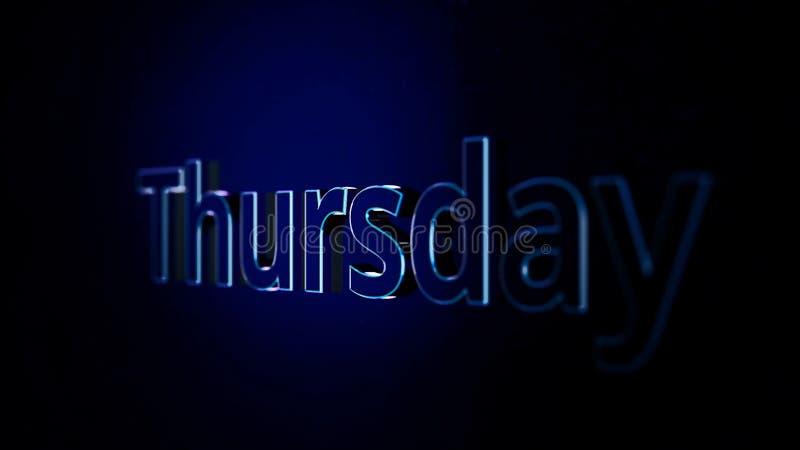 Animation day of week Thursday. Word Thursday moves on black background. Animirovannoe appearance of volume labels. Thursday royalty free illustration