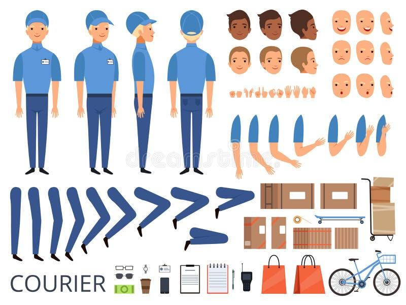 Animation de caractère de boîte de messager Les bras de tête de parties du corps couvrent des mains de travailleur d'entrepôt fai illustration libre de droits