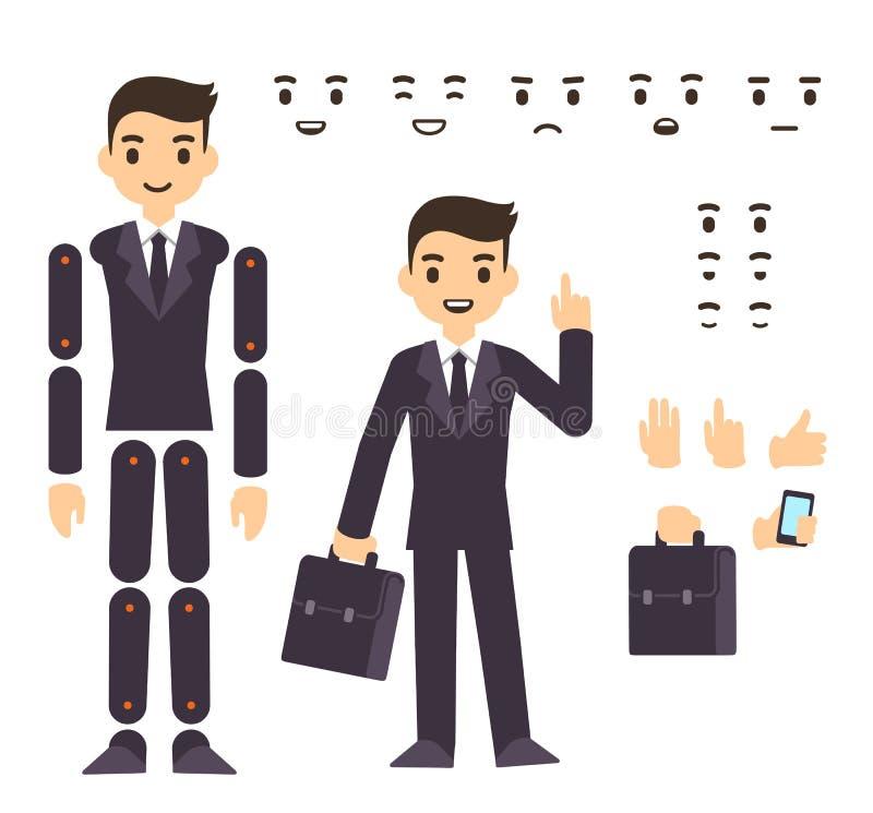 Animation de caractère d'homme d'affaires illustration libre de droits