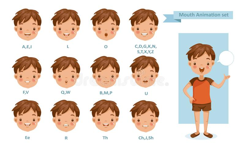 Animation de garçon de bouche illustration libre de droits