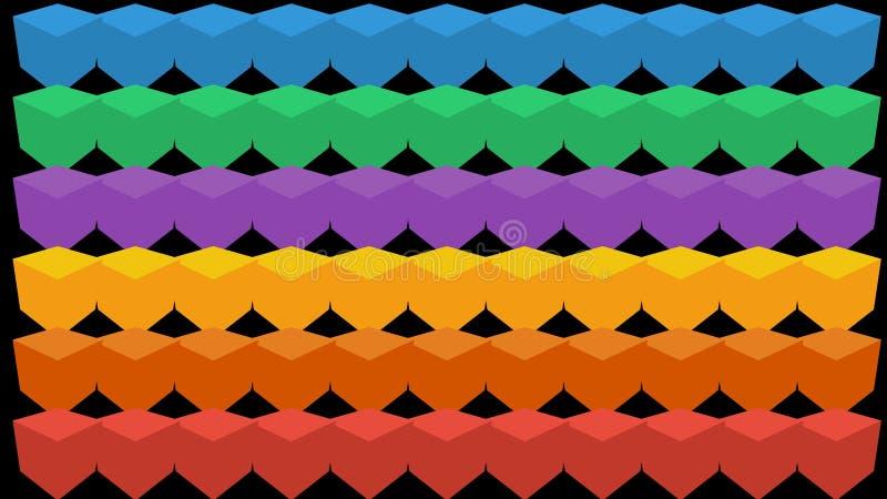 Animation de l'aspect des cubes Fond abstrait des cubes multicolores illustration libre de droits