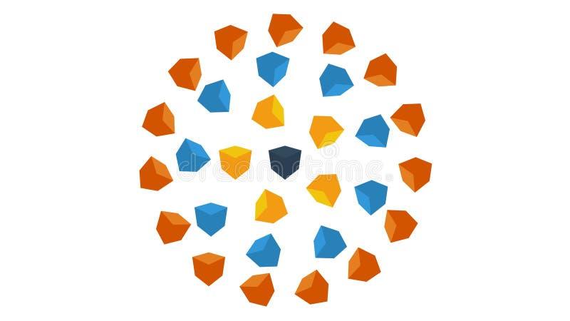Animation de l'aspect des cubes Fond abstrait des cubes multicolores illustration de vecteur