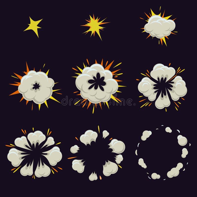 Animation des Explosionseffektes in der Karikatur komisch stock abbildung