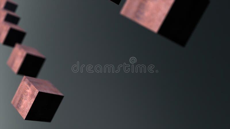 Animation des Schwerkraftmetallrostwürfelzusammenfassungs-Hintergrundes 3d vektor abbildung