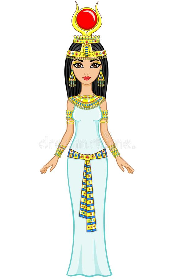 Animation Egyptian princess in gold jewelry. Goddess Isida. Full growth. Vector illustration: Animation Egyptian princess in gold jewelry. Goddess Isida. Full royalty free illustration
