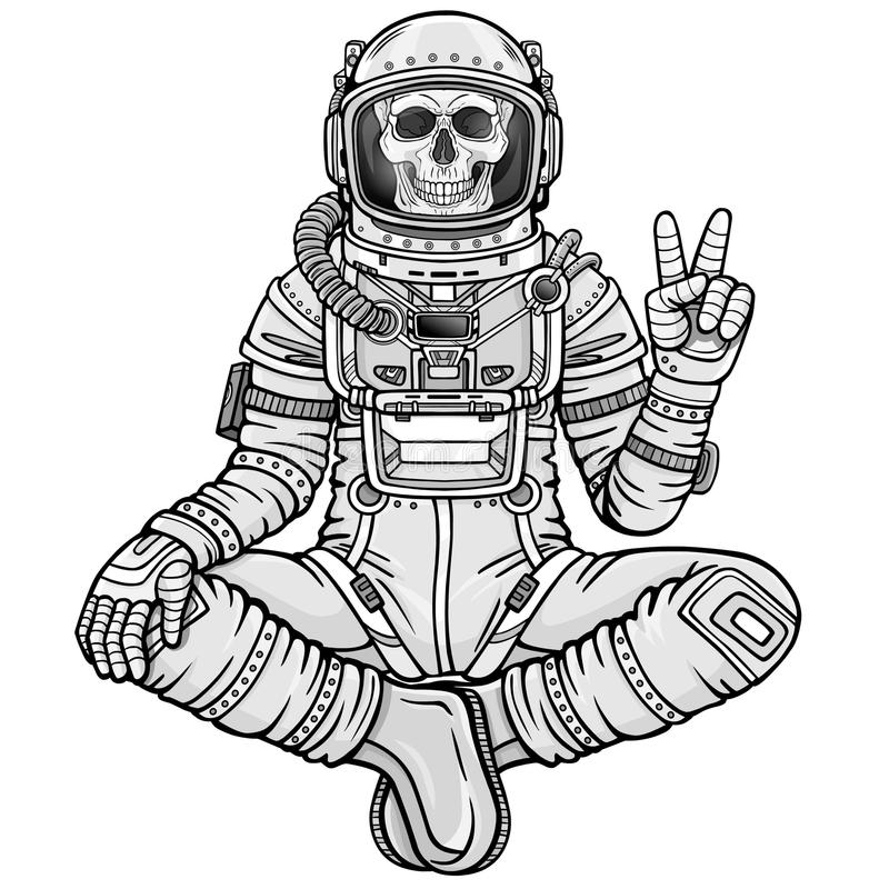 Free Animation Figure Of The Astronaut Skeleton Sitting In Buddha Pose. Meditation In Space. Stock Photography - 111579962