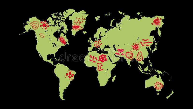Animation germ and pathogen for human disease spreading on the world animation germ and pathogen for human disease spreading on the world map background stock footage video of australia europe 78812924 gumiabroncs Image collections