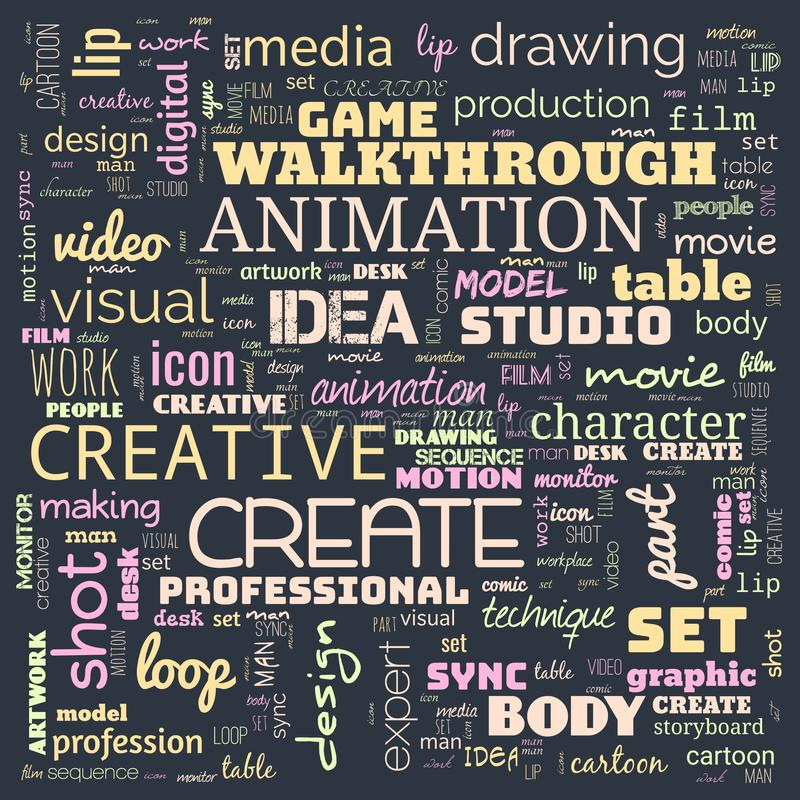 Animation graphic, design, text word cloud, use for banner, painting, motivation, web-page, website background, t-shirt & shirt. Printing, poster, gritting vector illustration