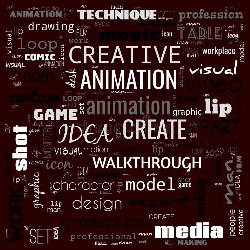 Animation graphic, design, text word cloud, use for banner, painting, motivation, web-page, website background, t-shirt & shirt. Printing, poster, gritting stock illustration