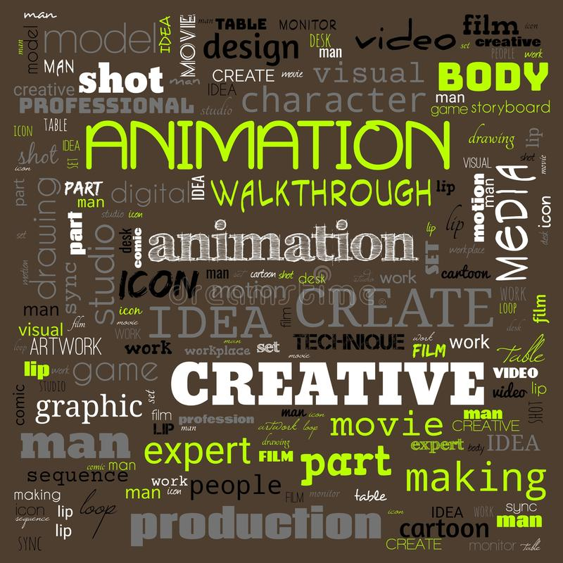 Animation graphic, design, text word cloud, use for banner, painting, motivation, web-page, website background, t-shirt & shirt. Printing, poster, gritting royalty free illustration