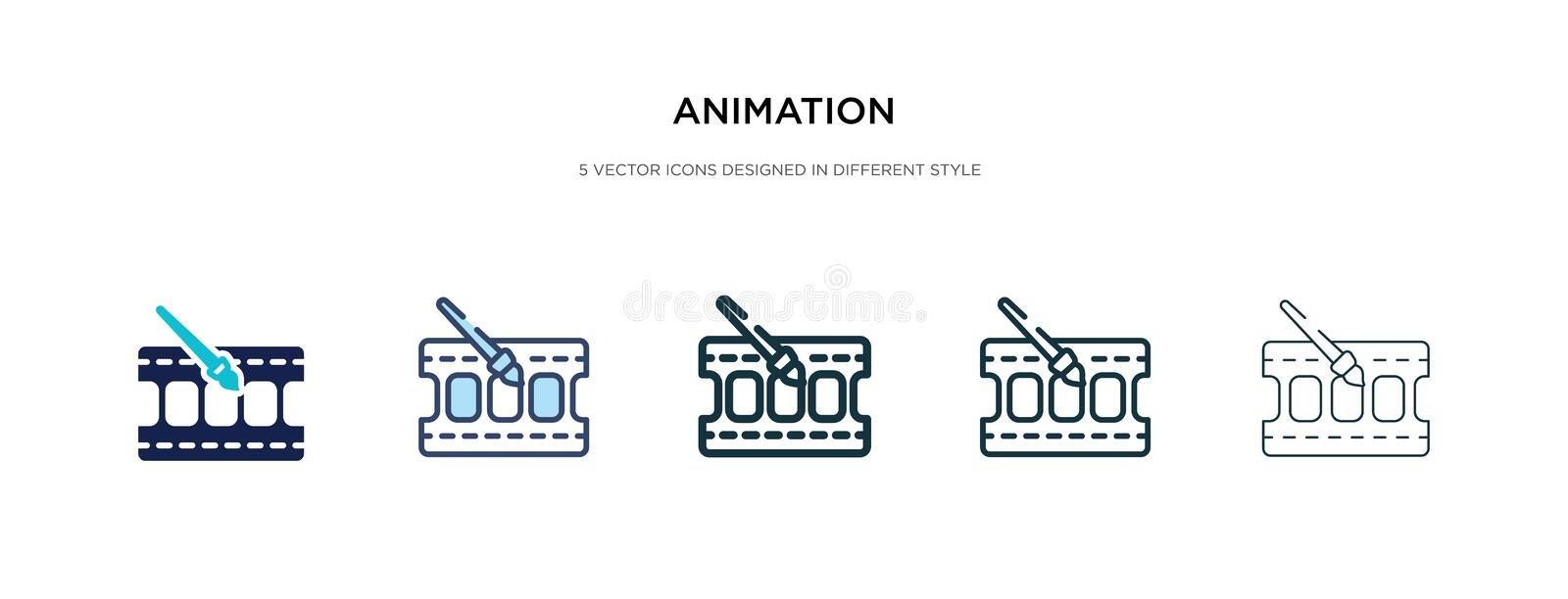 Animation icon in different style vector illustration. two colored and black animation vector icons designed in filled, outline, stock illustration