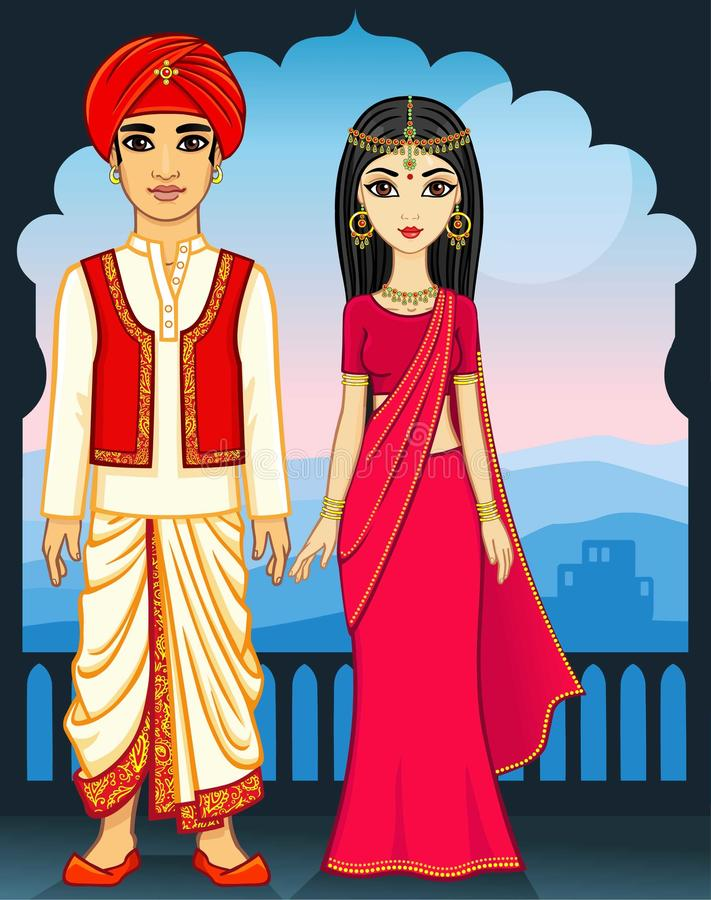 Animation Indian family. royalty free illustration