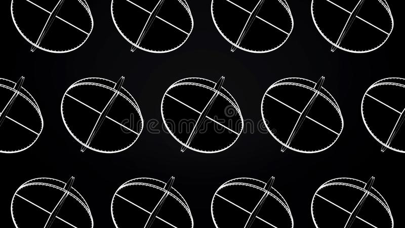 Animation of intersecting white circles. Abstract animation of rotating complex geometric shapes on a black background royalty free illustration
