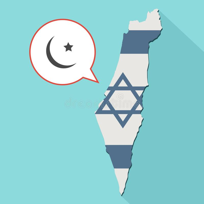 Animation of a long shadow Israel map with its flag and a comic. Balloon with a islam sign vector illustration