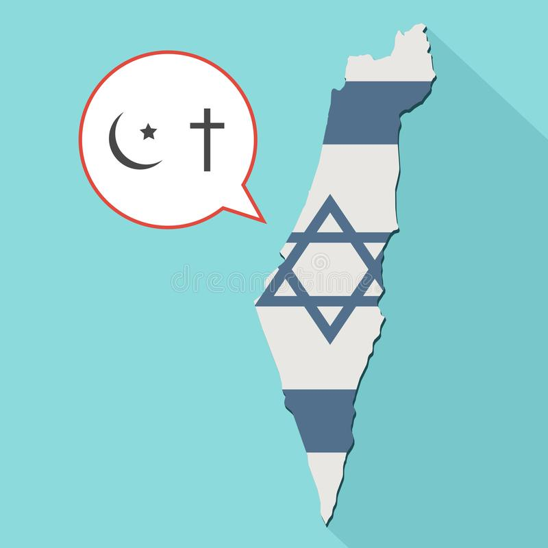 Animation of a long shadow Israel map with its flag and a comic. Balloon with christianity and islam religions symbols royalty free illustration