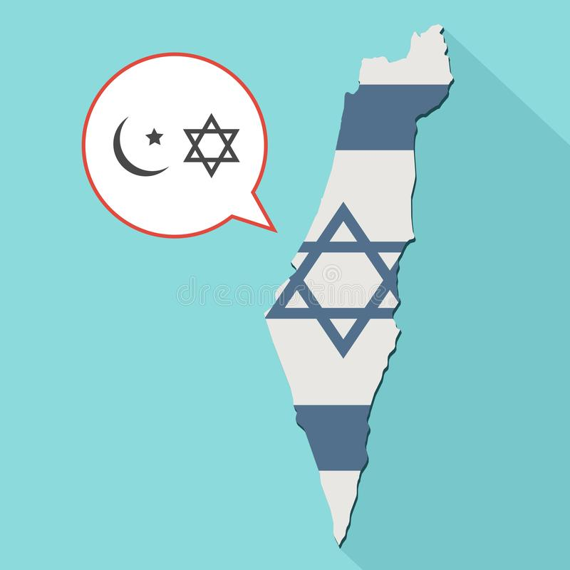 Animation of a long shadow Israel map with its flag and a comic. Balloon with islam and judaism religions symbols stock illustration