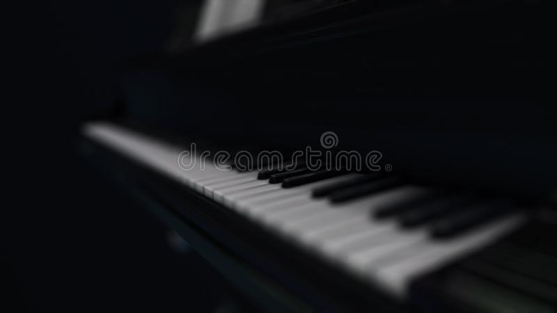 Animation of luxury black piano with white blurred keys in the dark. Animation. 3D render illustration. 4K animation. stock illustration